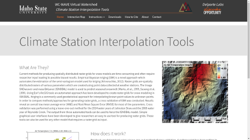 Screenshot of Climate Station Interpolation Toolkit home page