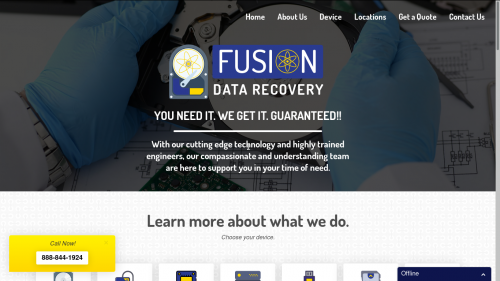 Screenshot of fusiondatarecovery.com home page