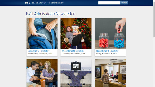 Screenshot of BYU Newsletter home page
