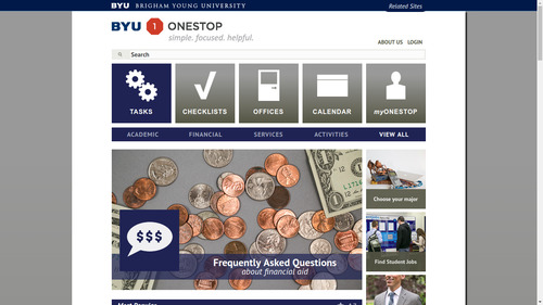 Screenshot of former BYU OneStop home page