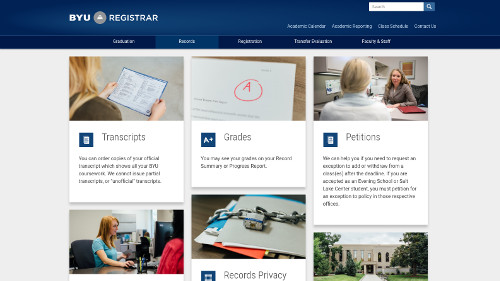 Screenshot of former BYU Registrar website home page