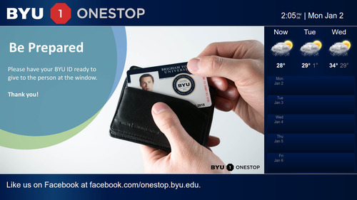 Screenshot of BYU Signage page