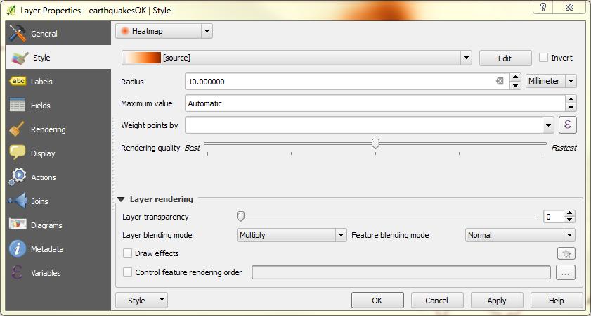 Dialog box for QGIS