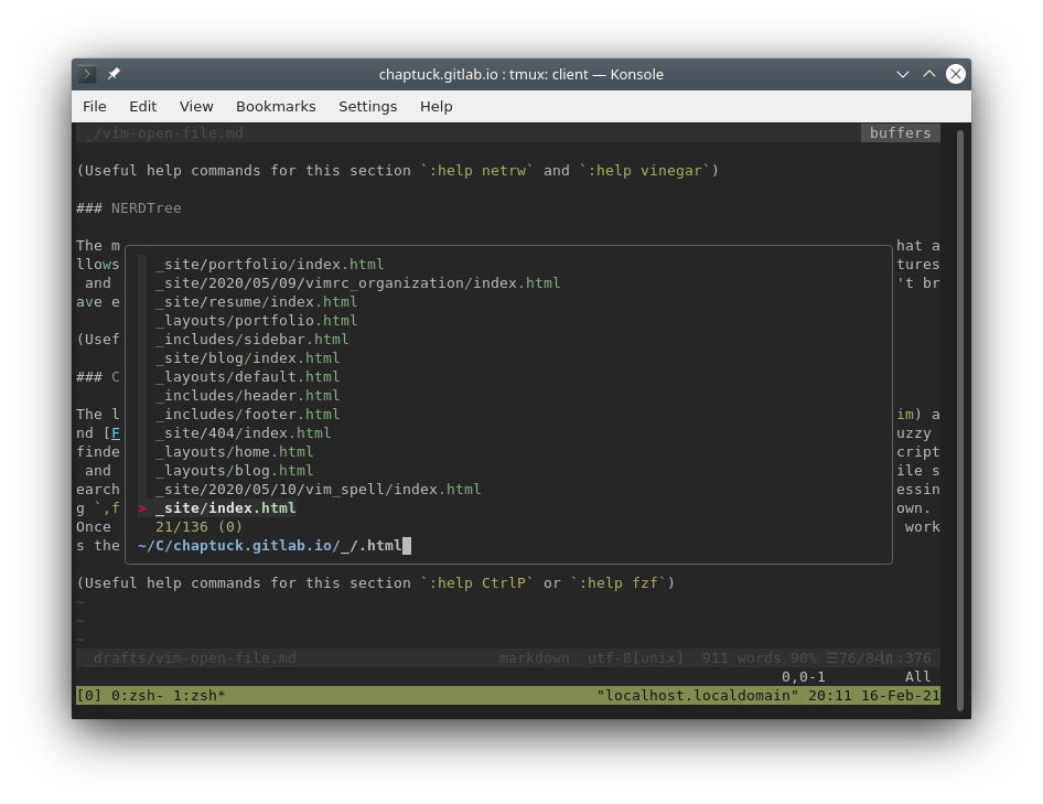 Screenshot of vim with fzf dialog open