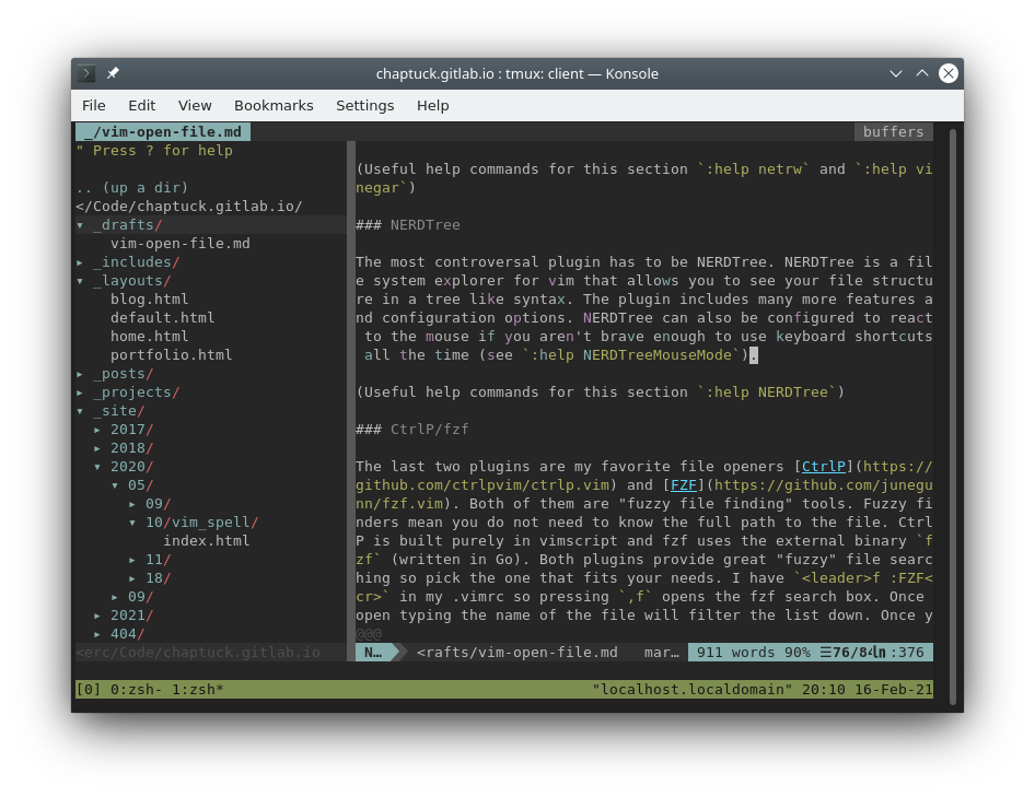Screenshot of vim with NERDTree open