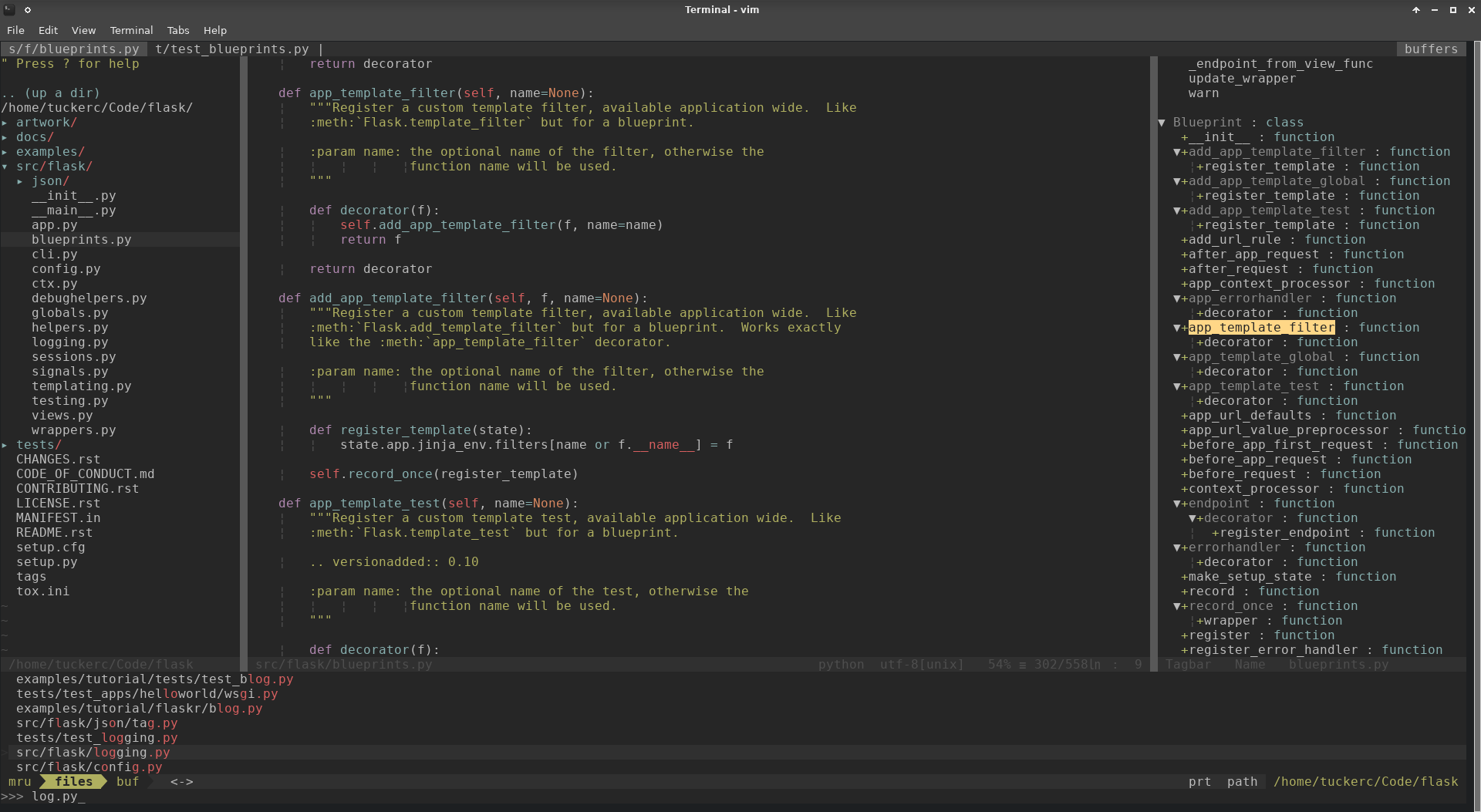Screenshot of my vim setup